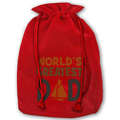 Virginile World Greatest Dad Santa Sack Christmas Bag Large Cotton Santa Bag Halloween Cosplay Gifts with Drawstrings (Red)