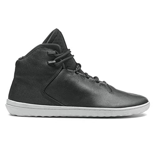 vivobarefoot Borough, Mens Leather Luxury Sneaker Boot with Barefoot Sole and Thermal Protection Black