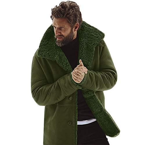 - G-Real Men Winter Faux Fur Long Shearling Jacket Coat Classic Sheepskin Windproof Motorcycle Outwear