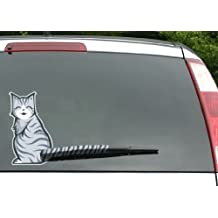 MosBug Moving Tail Kitty Car Decal - Rear Window and Wiper Decal - Two (2) Cat Stickers (Smiling and Frowning) and 4 Tails Included - Vinyl 10in x 6in Cats