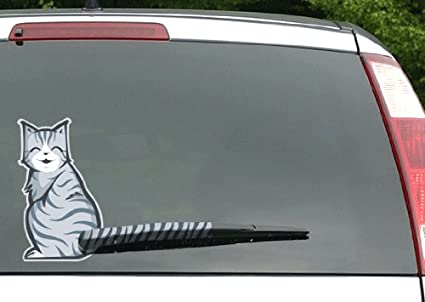 Mosbug moving tail kitty car decal rear window and wiper decal two 2