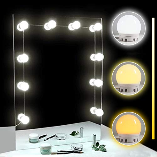 TOMNEW LED Vanity Mirror Lights Kit, 10 Adjustable Hollywood Makeup Vanity Mirror Light Bulbs, Cool and Warm Brightness Dimmable Bath Mirror Lamps for Dressing Table (White & Yellow Light)