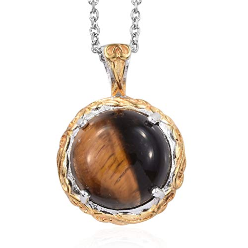 - Shop LC Delivering Joy ION Plated Tigers Eye 18K Yellow Gold and Platinum Gift Chain Pendant Necklace 20