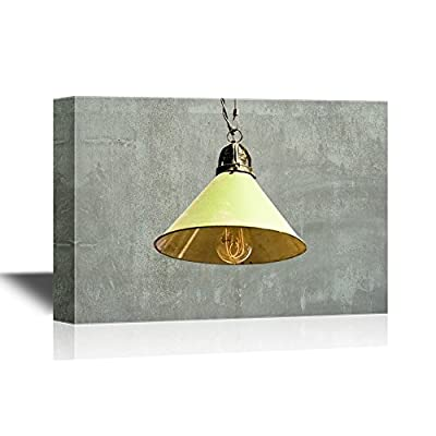 Canvas Wall Art - Yellow Light Bulb Against Grey Background - Gallery Wrap Modern Home Art | Ready to Hang - 12x18 inches