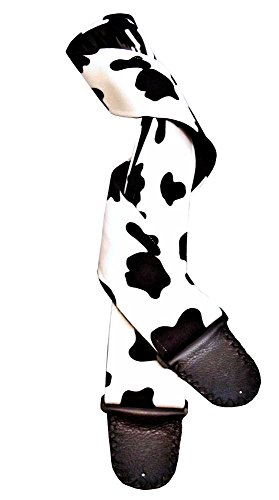 Black Suedecloth - Black and White Suede Cloth Faux Cowhide Artisan Handmade Guitar Strap
