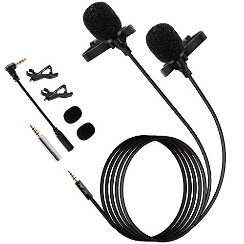 """Premium 196"""" Dual-Head Lavalier Microphone, Professional Lapel Clip-on Omnidirectional Condenser Mic for Apple iPhone,Android,PC,Recording YouTube,Interview,Video Conference,Podcast"""