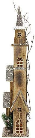 Northlight 27.75 Brown and Silver LED Lighted Tall Rustic Church Christmas Tabletop Decor