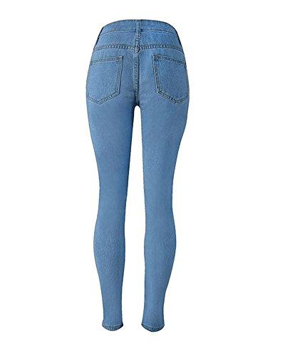 Stampa Pantaloni Jeans Chiaro Skinny Denim Con Azzurro Elastico Leggings Lunghi EqCPPnx60F