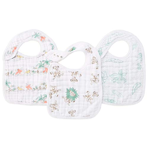 "aden + anais Classic Snap Bib, 100% Cotton Muslin, Soft Absorbent 3 Layers, Adjustable, 9"" X 13"", 3 Pack, Lion King"