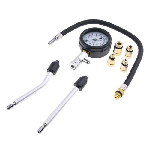 Almencla Petrol Engine Cylinder Compressor Gauge Meter Test Pressure Compression Tester Leakage Diagnostic Tool Set: