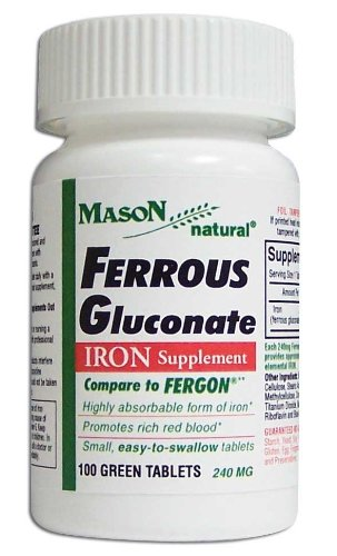 Mason Vitamins  Iron Ferrous Gluconate 240Mg Tablets, 100-Count Bottles (Pack of 4)