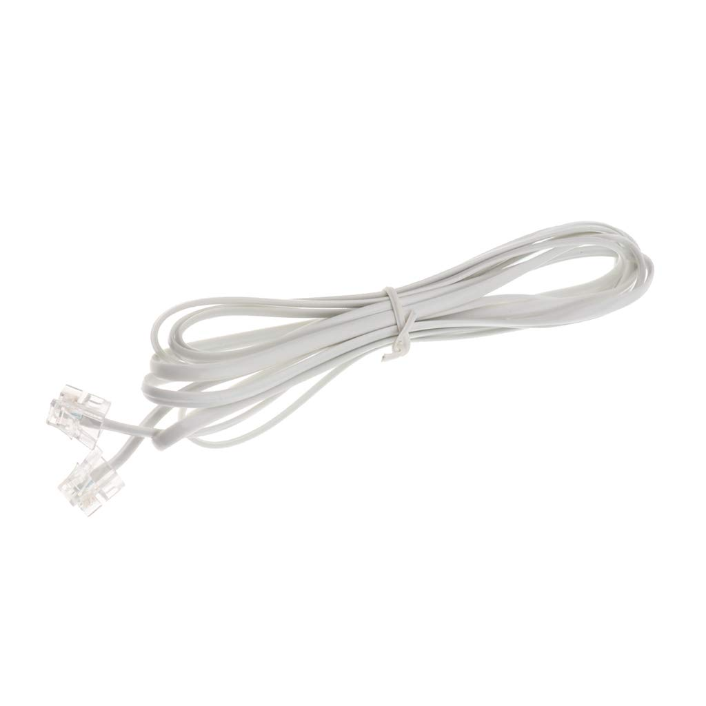 Baoblaze 10 Feet Telephone Landline Extension Cord Cable Line Wire with Standard RJ-11 6P2C Plugs (White 3Meters, 1Pack)