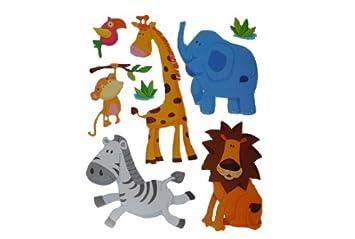 8 Tlg Set Wandtattoo Fensterbild Löwe Elefant Zebra Affe Giraffe Zootiere