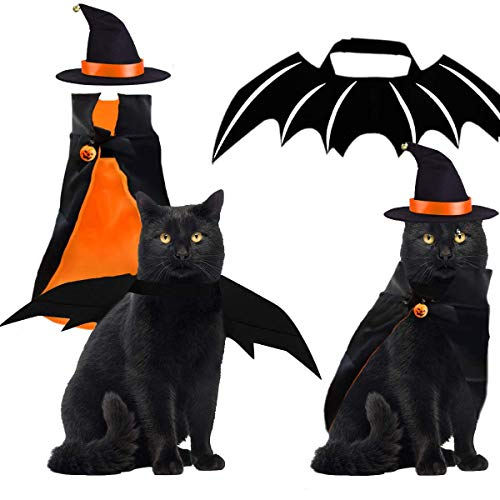 Byhoo Halloween Pet Costume Witch Cloak Bat Wings Wizard Hat 3 PCS Pet Cosplay Clothes for Small Cats Dogs Funny Magical Holiday Decorations for Halloween Theme Party Pumpkin
