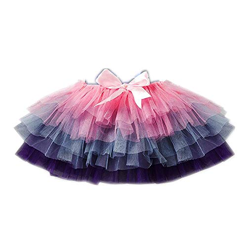 (VIKITA Kid Girl Cotton Purple Rainbow Tutu Pink Skirt SK111 4T)