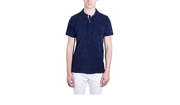 TOMMY HILFIGER Men - Cotton blend towel slim navy blue polo shirt ...