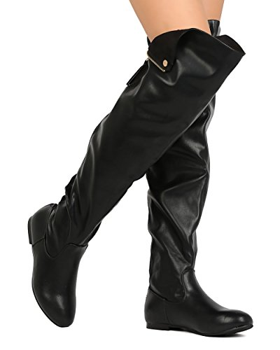 Nature Breeze Vickie-45 Women Leatherette Thigh High Hind Zipper Flat Boot (7.5, Black -PU)