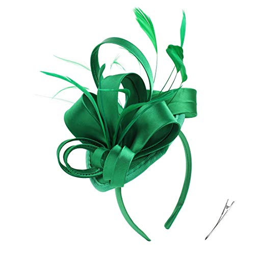 Felizhouse Fascinator Hats for Women Ladies Feather Cocktail Party Hats Bridal Headpieces Kentucky Derby Ascot Fascinator Headband, #1 Satin St Paddys Green]()