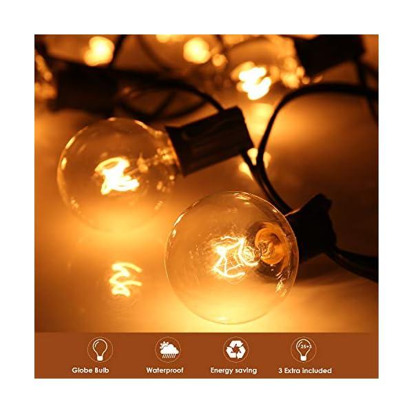 Catena Luminosa, 8M Stringa Luci Natalizie Catene Luminose Impermeabile con 28 pezzi G40 Lampadina Bianco Caldo Decorazione da Esterno e Interno per Giardino, Terrazza, Matrimonio, Natale, Festa 3 spesavip