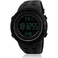 Para hombre deportivo Digital reloj Militar impermeable relojes de moda ejército electrónico reloj de pulsera Casual con luminoso calendario cronómetro alarma visualización LED, color negro