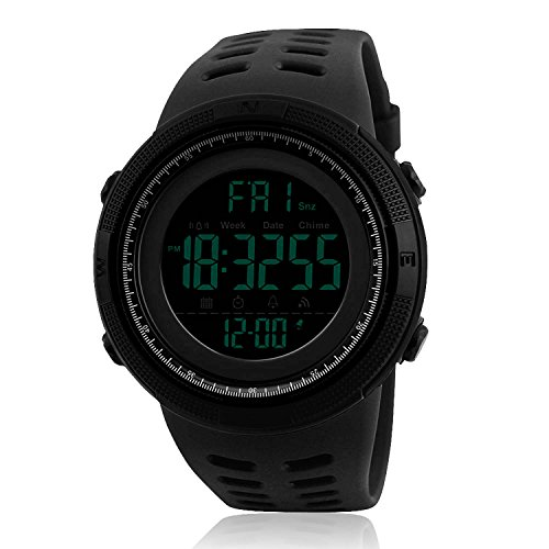 Mens Digital Sports Watch, Military Waterproof Watches Fashion Army Electronic Casual Wristwatch with Luminous Calendar Stopwatch Alarm LED Screen – Black