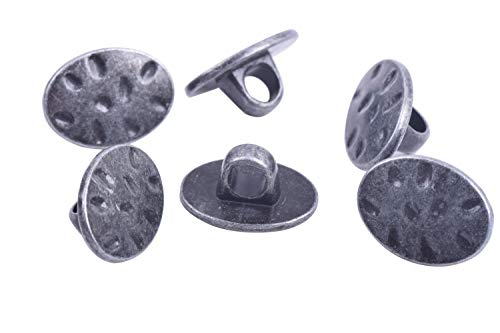KONMAY 30pcs Oval Shaped Antique Pewter Metal Buttons with Shank for Bracelet Wrapping, Sewing,Crafting (Oval Button)