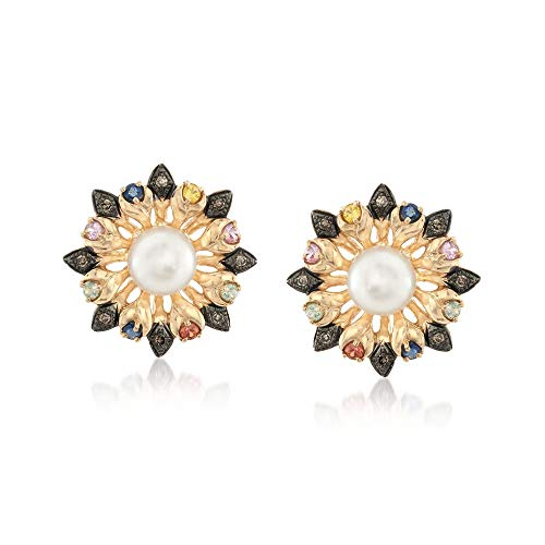 Ross-Simons 7-7.5mm Cultured Pearl and .44 ct. t.w. Multicolored Sapphire Flower Earrings With Brown Diamonds in 14kt Gold - Multi Colored Sapphire Flower
