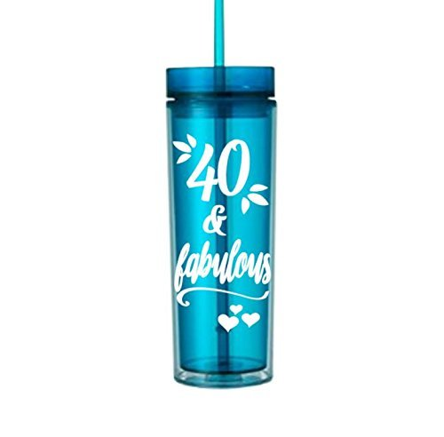 Happy Birthday Water (40 and fabulous gifts for women Birthday water bottle tumbler with lid and straw cup #120)