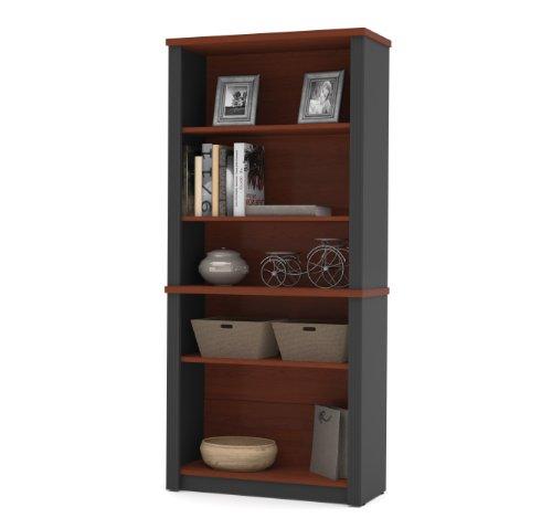 Bestar Prestige Modular Bookcase, 5 , Bordeaux Graphite