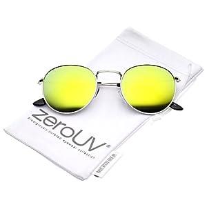 zeroUV - Retro Metal Frame Thin Temples Colored Mirror Lens Round Sunglasses 50mm (Silver/Yellow Mirror)