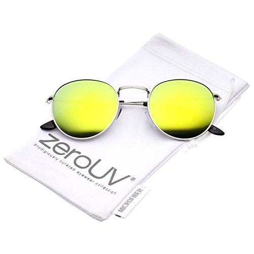 zeroUV - Retro Metal Frame Thin Temples Colored Mirror Lens Round Sunglasses 50mm (Silver / Yellow - Frame Yellow Round Sunglasses