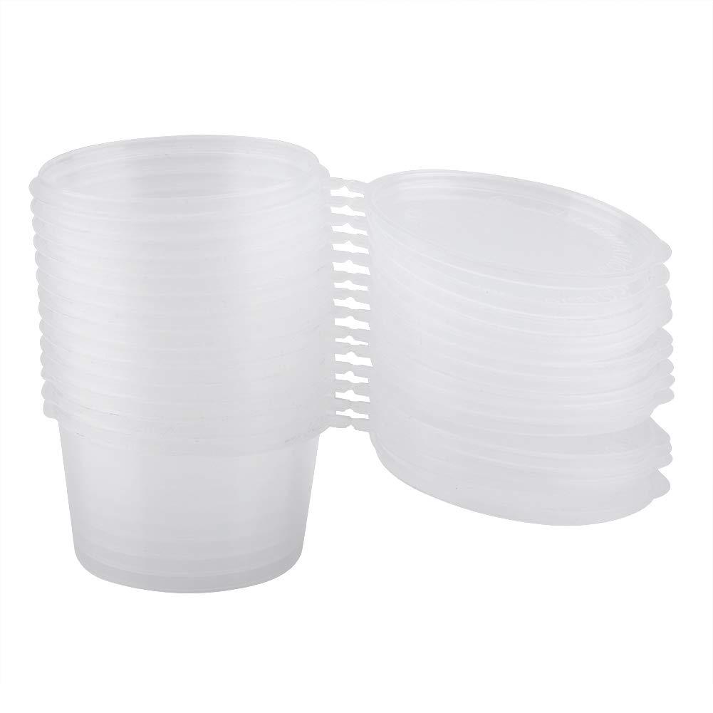 Tazze di plastica usa e getta con coperchi 100 ml 4 oz parabole trasparenti souffle condimento scatola di condimento tazza di campionamento 100 pz//set
