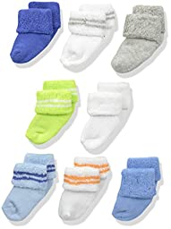 Luvable Friends Unisex 8 Pack Newborn Socks, Blue, 0-6 Months
