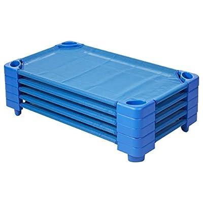 ECR4Kids Assembled Blue Stackable Standard/Toddler Daycare Rest Cot (5-Pack)
