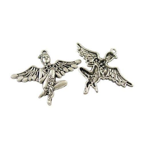 Paquet 3 x Argent Antique Tibétain 46mm Breloques Pendentif (Anges) - (ZX13795) - Charming Beads