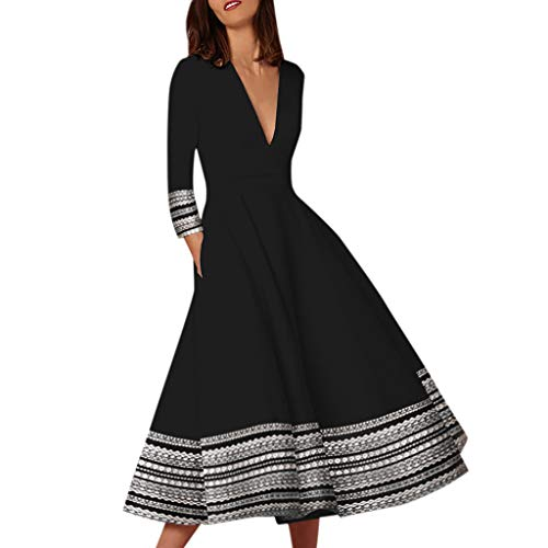 2019 New Women Vintage Printed Maxi Dress Mid Sleeve Empire Waist Ball Gown Prom Evening Party Swing Dress Nmch(Black,M)