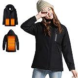 Venustas Women's Heated Jacket with Hood Waterproof Wind Resistant(Power Bank NOT Included) Black