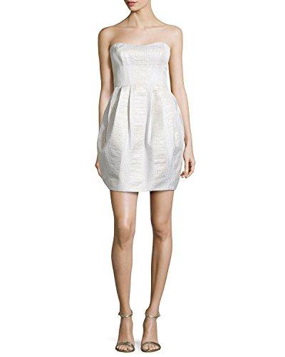 Nicole Miller Women's Strapless Iridescent Jacquard Bubble Skirt Mini Dress (8)