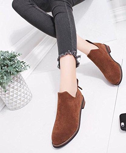... Sikye Damene Solide Varme Støvler Kvinner Vinterankelstøvletter Zip  Spiss Tå Martin Sko Brun