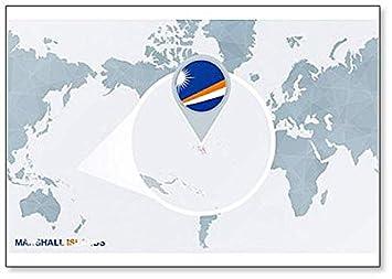 Amazon.com: World Map with Magnified Marshall Islands Classic Fridge ...