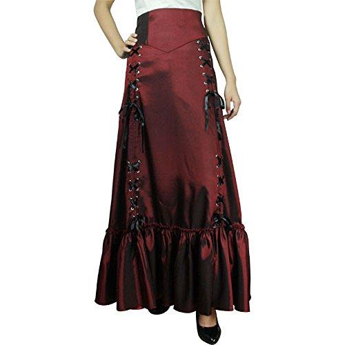 Steampunk de Victorian gótico estrella chic 3 forma encaje falda Borgoña