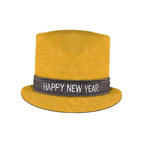 New Happy Hat Year Top (Bargain World Gold Glitz N Sparkle Happy New Year Top Hat (with Sticky Notes))