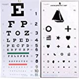 Elite Medical Instruments ® Kindergarten and Snellen Wall Eye Charts 22'' By 11'' Combo Pack