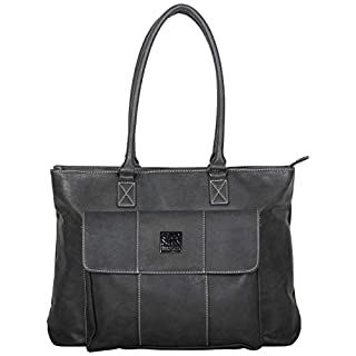 """Kenneth Cole Reaction Women's Casual Fling Pebbled Faux Leather Top Zip 16"""" Laptop Business Travel Tote, Charcoal"""