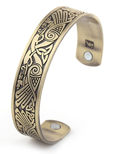 Health Care Magnetic Bracelet Viking Raven Cuff Bangle Irish Knotwork Birds Talisman Pagan Jewelry