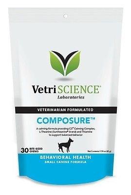 Coat Vetri - Vetri-science Composure Calming Formula to Support Balanced Behavior Mini Bite-sized Chews for Dogs (30 Chews) by VetriScience Laboratories