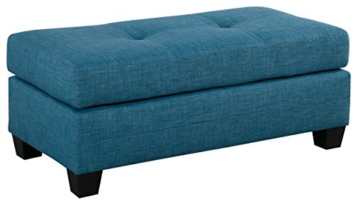 Homelegance Phelps Rectangular Tufted Ottoman, Blue