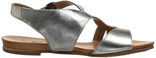 Miz Mooz Women's Ashe Flat Sandal, Black, Medium Pewter