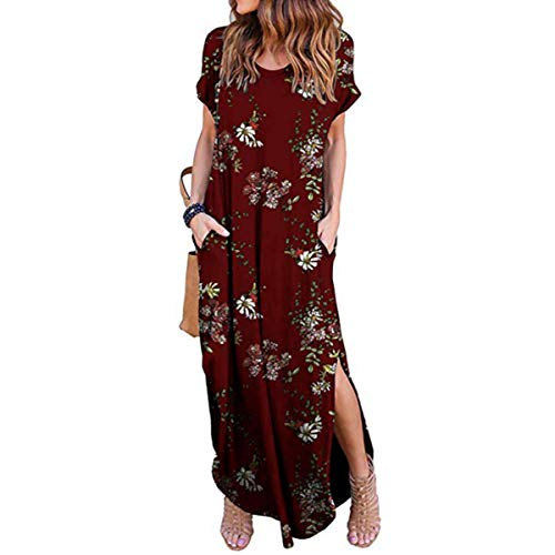 IMBOAZ Women's Casual Loose Long Dress Short Sleeve Floral Print Maxi Dresses with Pockets Wine Red