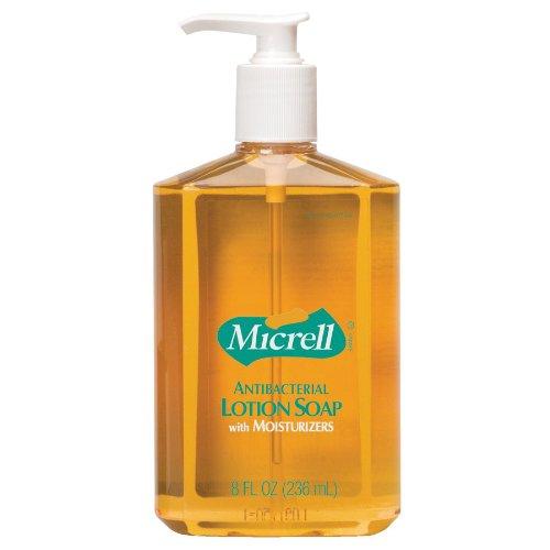 GOJO® MICRELL Antibacterial Lotion Soap, Unscented Liquid, 8oz Pump - Micrell Antibacterial Lotion Soap Pump